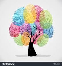 stock vector diversity color tree finger prints illustration