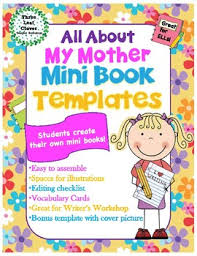 mothers day books all about my mini books template with vocabulary cards