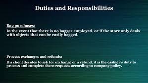 description of job duties for cashier cashier job description