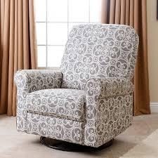 Fabric Recliner Armchair Abbyson Perth Grey Floral Fabric Swivel Glider Recliner Chair