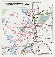 road map massachusetts usa worcester road map