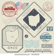 Ohio travel set images Retro vintage postage stamps set ohio stock vector 564557644 jpg