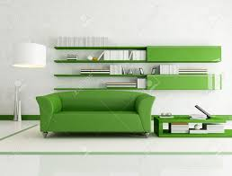 contemporary living room with fashion green couch rendering