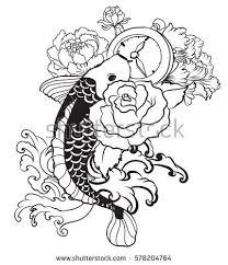 outline koi fish stock vector 578204764