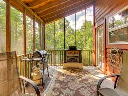 Two Story Deck Dog Friendly Two Story Cabin In Woods W Screened In Deck