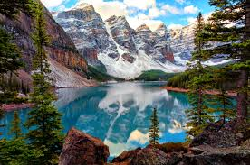 nature lake reflections wallpapers lakes park national reflection canada cliffs serenity lovely