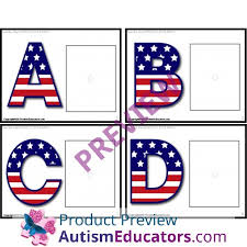 upper and lower case letters patriotic task cards for autism task
