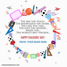 design online quotes world teachers day greeting cards with name edit wishes greeting card