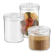 Canister For Kitchen by Set Of Artisan Glass Canisters With Walnut Lids The Container Store