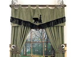 Cabin Style Curtains Wildlife Decor Rustic Window Treatments Cabin Window
