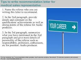 medical sales representative recommendation letter