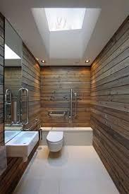 long barn bathroom idea with simple skylight design simple