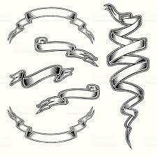 tattoo style ribbon set stock vector art 165621089 istock