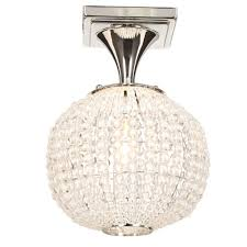 crystal semi flush mount lighting hton bay bellefont 1 light polished nickel crystal ball semi