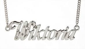 Necklace With Name 18k White Gold Plated Necklace With Name Wiktoria Wedding Czech