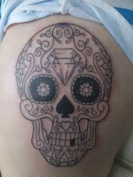 sugar skull tattoo only couple of hours old done by carol