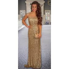 Gold Sequin Prom Dress High Neck Gold Sequin Evening Dress