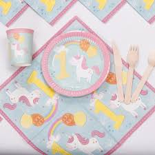 riscawin lovely unicorn paper plates 1st birthday decoration