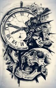 Tatoo Design - broken clock and skull design