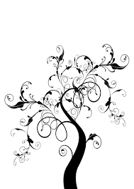 black paint family tree mural design swirly fancy silhouette
