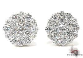studded earrings cluster diamond stud earrings 21049 style white gold 14k