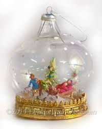 children in snow on glass dome diorama ornament dresden