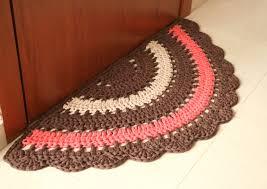 Crochet Bathroom Rug by Ready To Ship Crochet Boho Half Rug Rustic Half Rug Cotton