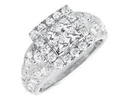square cut rings images 14k white gold princess cut diamond cluster milgrain wedding jpg