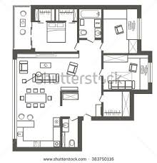 architectural plan house top view floor stock vector 675003844