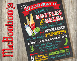 bottles and beer couples baby shower invitations on a