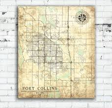 Colorado Map Of Cities by Fort Collins Co Canvas Print Colorado Vintage Map Fort Collins