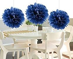 heartfeel 8pcs navy blue tissue paper pom poms flower