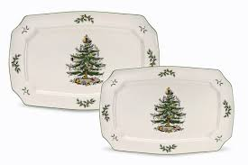 amazon com spode christmas tree rectangular platters set of 2
