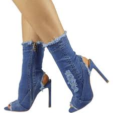 womens denim boots uk denim peeptoe ankle boots stiletto high heels mid calf