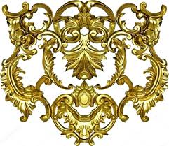 baroque ornate gold ornament textile fashion frame stock photo