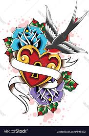bird heart and rose tattoo set royalty free vector image