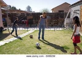 Kids Playing Backyard Football Children Playing Football In The Back Streets Of Black Sea Port Of