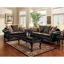 theodora black tan chenille leatherette 2pcs sofa set