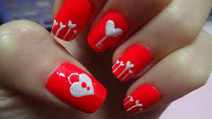 easy nail art for valentine u0027s day heart shape key lock youtube