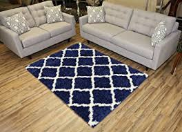 5 X7 Area Rug Navy Blue Trellis Shag Area Rug Rugs Shaggy Collection