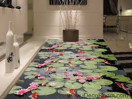water lily lotus red carp fish 00045 floor decals 3d wallpaper