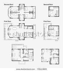 plans for a house set black white architectural plans house stock vector 735113665