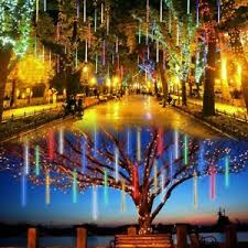 outdoor string lights rain lalapao outdoor christmas string lights solar powered led meteor