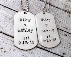 customized dog tag necklace couples dog tag etsy