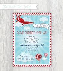 Baby Boy First Birthday Invitation Cards Printable Invitation Vintage Airplane And By Prettiestprintshop