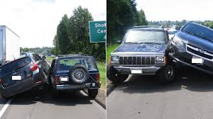 built jeep cherokee subaru impreza purposely rams into jeep cherokee repeatedly for