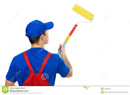 paint man painter man in uniform with paint stock image image of labor