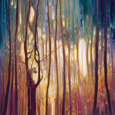 artist creates ethereal landscape paintings bursting with color