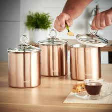 Glass Kitchen Canister by Amazon Com Vonshef Set Of 3 Copper Tea Coffee U0026 Sugar Canisters