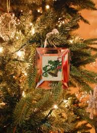 old christmas tree decorations and christmas cards in vintage style